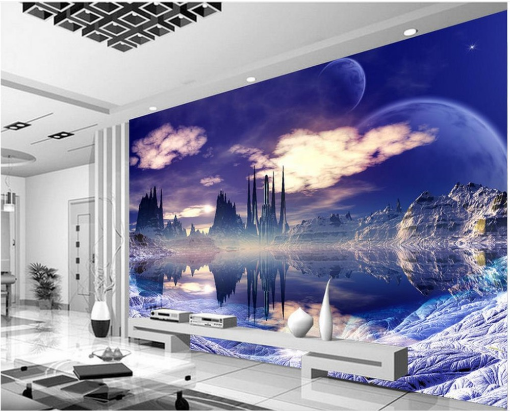 custom any size 3d fantasy sky city tv backdrop 3d murals wallpaper