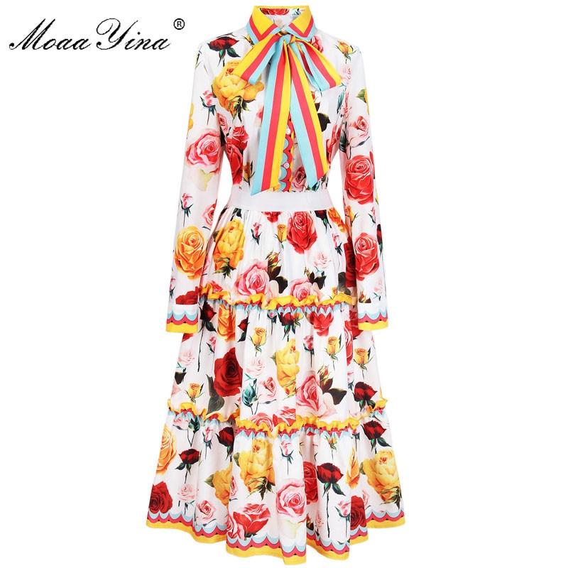 MoaaYina 2018 модные дизайнерские взлетно посадочной полосы комплект весна для женщин с принтом розы ленты повседневное праздник элегантная руб...