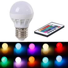 new high quality 3W energy saving bulb lamp RGB24 key remote control seven color lamp LED indoor lighting sales