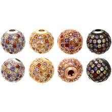 ZHUKOU 6 мм/8 мм/10 мм смешанные цвета лучшее качество латунные кубические циркониевые Круглые бусины для DIY ювелирных изделий Модель: VZ200