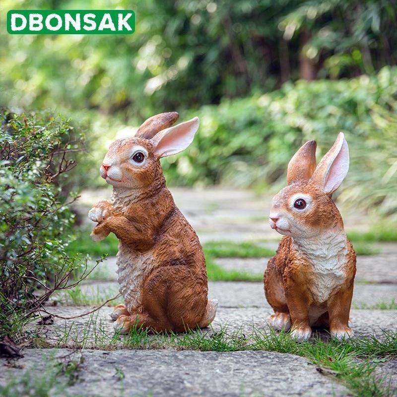 Cartoon Crafts Simulation Rabbit Sculpture Outdoor Hunting Bait Resin Animal Landscape Villa Gardening Courtyard Decoration