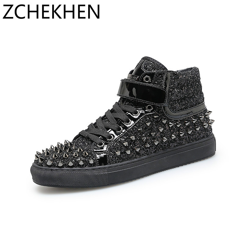 Hip hop Martin Boots Male bling sequined Men High top Shoes Rivets Punk ankle Boots Zapatillas Chunky sneakers Chaussure Homme milanese loop strap for apple watch bands 42mm for iwatch band 38mm stainless steel metal bracelet mesh watchband serise 3 2 1