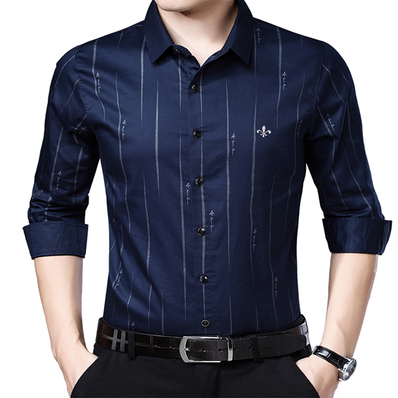 Image 4 - Dudalina Me Shirt 2019 Men's Striped Dress Shirts Male High Quality Long Sleeve Slim Fit Business Casual Shirt Camisa-in Casual Shirts from Men's Clothing