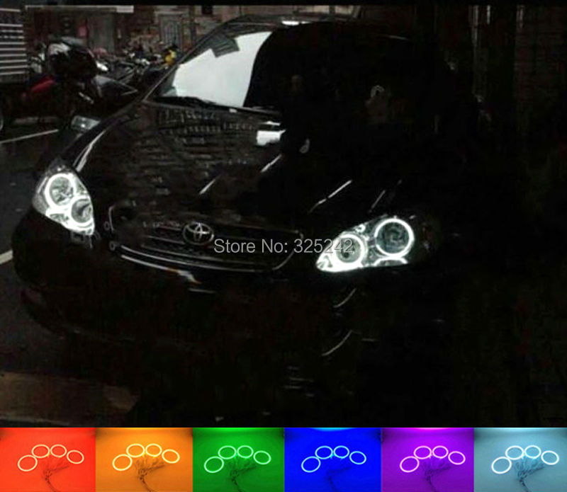 ФОТО For toyota COROLLA ALTIS 2005 2006 2007 Excellent Angel Eyes Multi-Color Ultra bright RGB LED Angel Eyes kit Halo Rings
