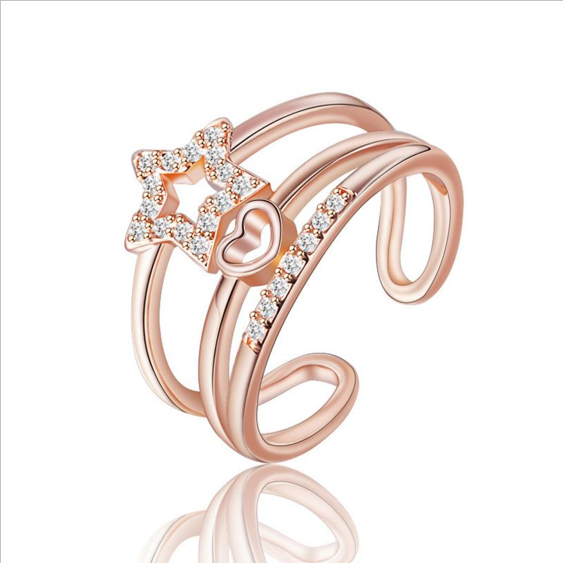 TJP Shiny Crystal Star Women Rose Gold Finger Rings Accessories Fashion Lady 925 Silver Rings For Girl Bride Engagement Biou Hot