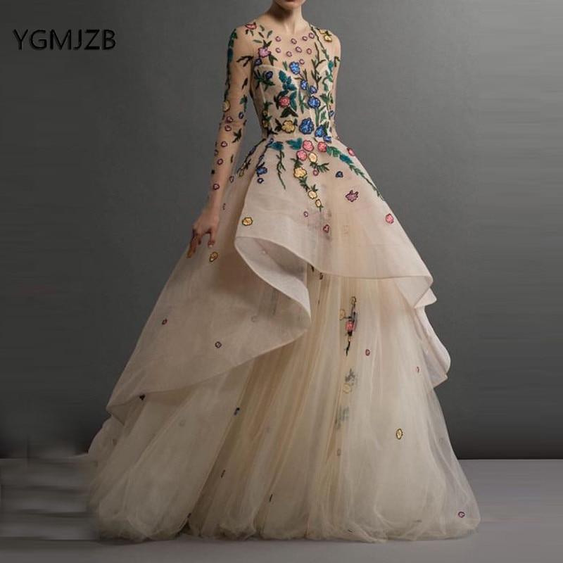 Saudi Arabic   Evening     Dress   Long Sleeves 2019 Embroidery 3D Flower Women Formal   Evening   Gowns Prom   Dress   Robe De Soiree