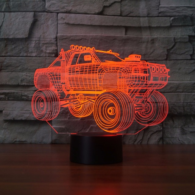 3D Night Light Suvs Car Shape Lamp Remote Touch Swithc LED 7 Colors USB 3D Illusion Lamp Baby Sleeping Table Light