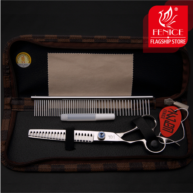 Professional Japan440C 7 inch pet dog grooming scissors thinning shears left-hand use thinning rate 75% 4