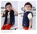 2016 Nuevo Bebé Niños Pato Abajo Chaleco Chaleco Coats Primavera y otoño Niños Calientes de Los Muchachos Encapuchados Gruesos Chalecos Chaqueta 3-11 Año