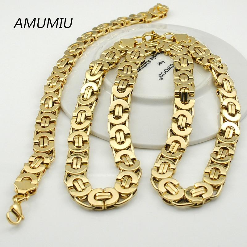 AMUMIU Herren Gold Farbe Kette Edelstahl Halskette Armband Set Flache - Modeschmuck - Foto 6