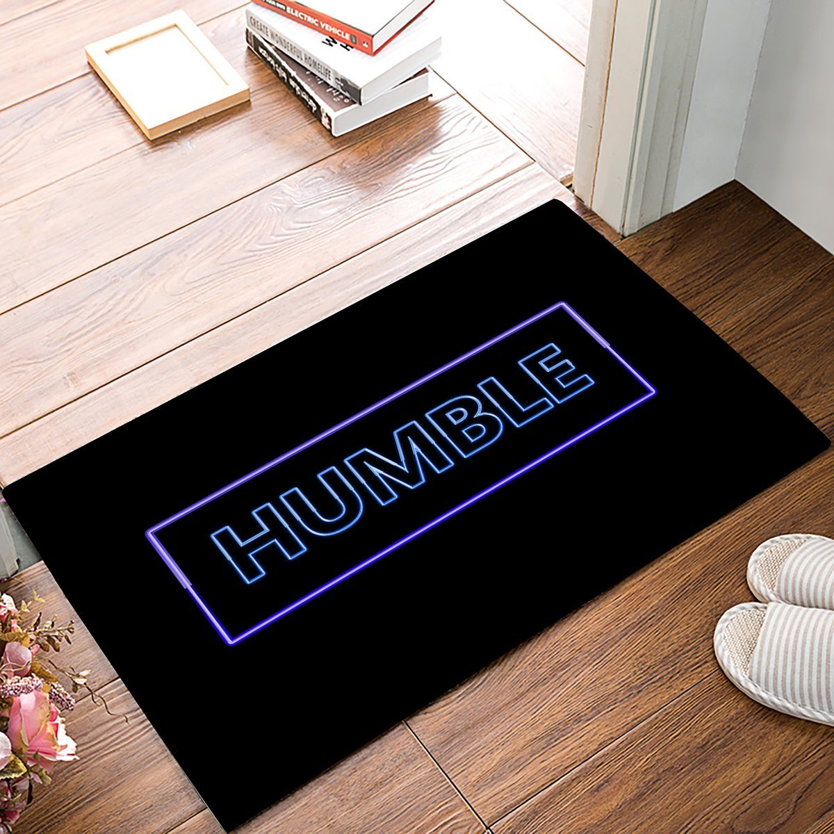 Humble - On Purple Neon Light Rectangle Background Door Mats Kitchen Floor Bath Entrance Rug Mat Absorbent Indoor Bathroom