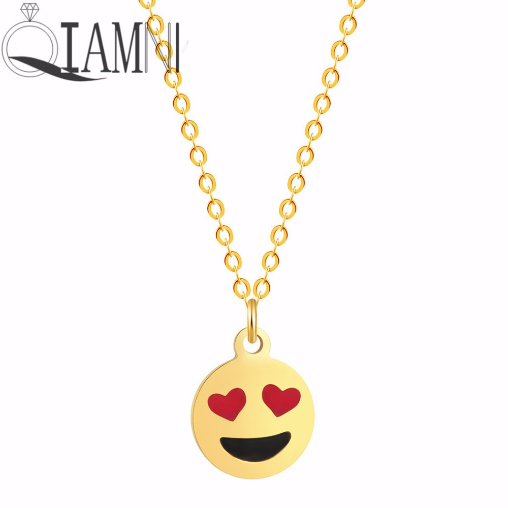 QIAMNI Double Heart Love Eyes Facial Expression Smiling Face Emoji Cabochon Pendant Necklace Valentines Gift