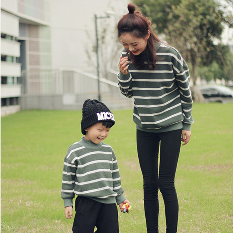 Checcivan Origin Design Fashion Sweaters Family Mother and Son Stripe Pullover Sweater Boys Turtleneck Sweatshirt Girl Outerwear navy hooded design stripe pullover long sleeves tee
