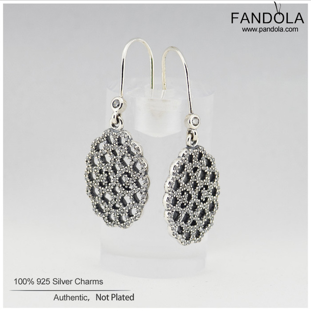 Genuine 925 Sterling Silver Hoop Earrings Lace Earring with Cubic Zirconia For Women Original Authentic Jewelry Gift Wholesale