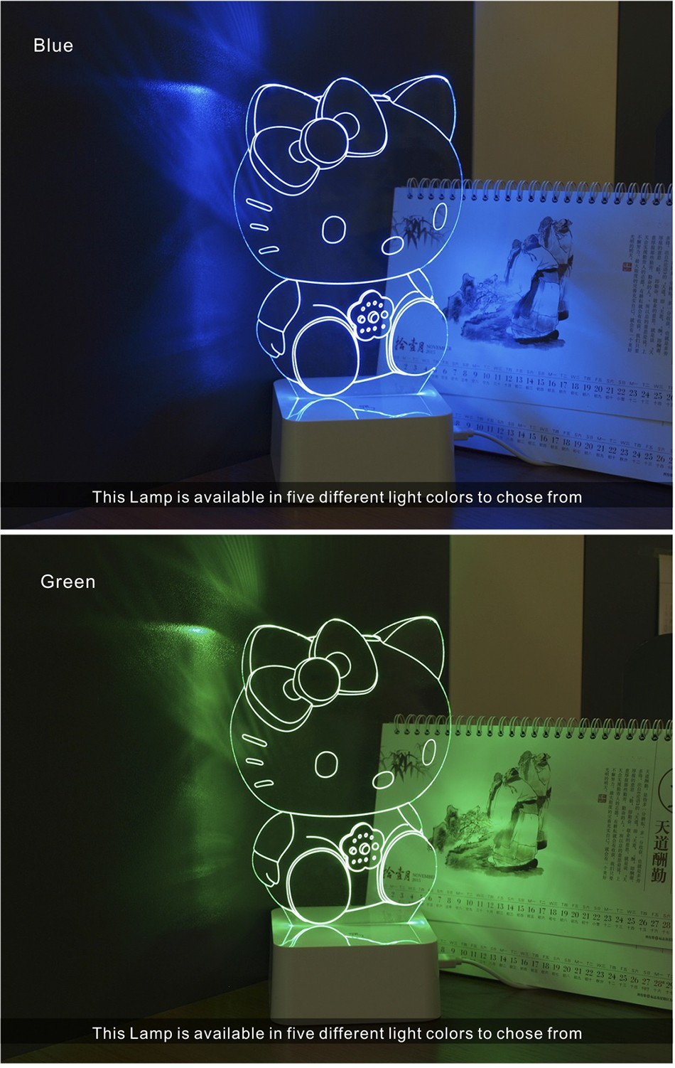 Novelty Art Decor Lamp 3d For luces de Hello Kitty Night Light  (4)