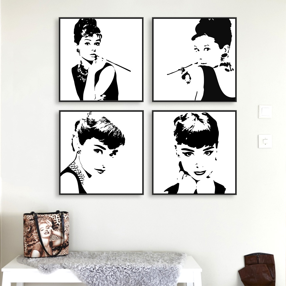 modern minimalist black white audrey hepburn portrait pop movie art print poster abstract wall. Black Bedroom Furniture Sets. Home Design Ideas