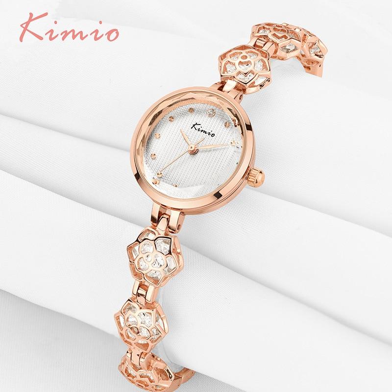 KIMIO Ladies Camellia Flower Bracelet Woman Watches 2017 Brand Luxury Quartz Watch Clock Women Dress Wrist Watches For Women