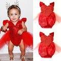 Moda Infantil Bonito Do Bebé Lantejoulas Coração Rendas Tule Sunsuit Romper Macacão Outfits Roupas