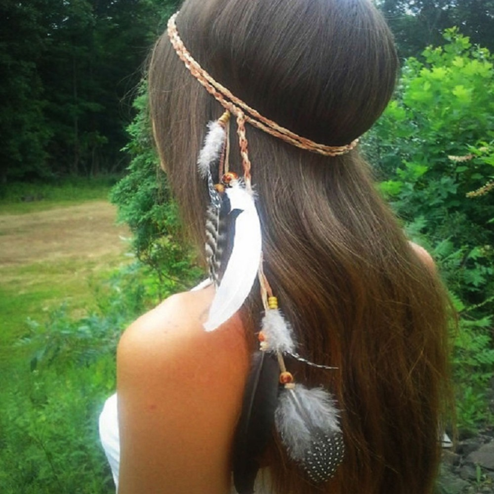 Boho Indian Feather Headband Headdress Hair Rope   Headwear   Tribal Hippie Party New 2017