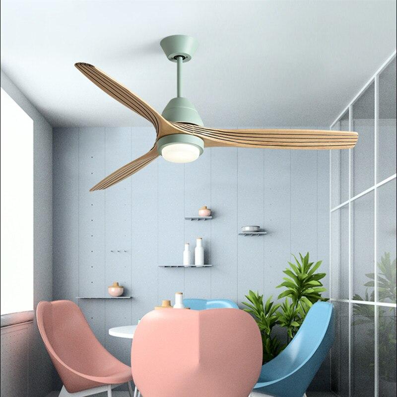 Nordic Creative Led Ceiling Fan Light Modern Three Color Change Living Room Restaurant Cafe Wooden Fan