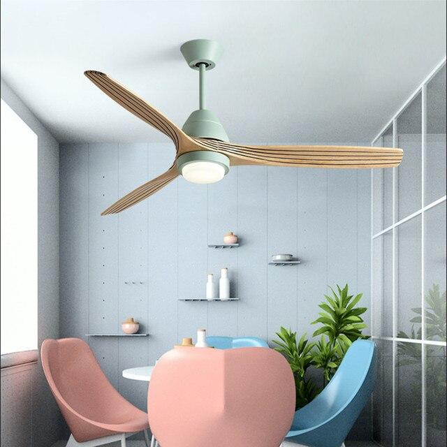 נורדי Creative Led תקרת אוהד אור מודרני שלושה צבע שינוי סלון מסעדת קפה עץ מאוורר מנורה עם שלט רחוק