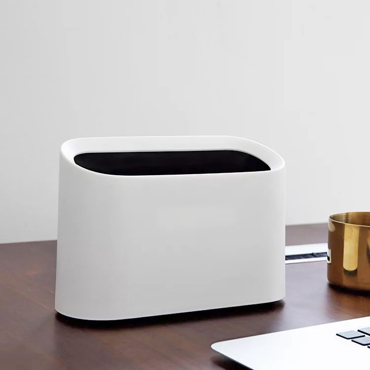 050 Fashion Tabletop Elliptical Inclined Desktop Double Layer Ring Waste Cans desktop trash can 21 7 8 8 14 5cm in Waste Bins from Home Garden
