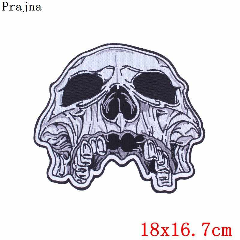 Prajna Big Punk Rock Embroidered Badges Patches Eagle Metal Band Free Biker Patch sticker Skull Iron On Patches For Clothes Vest