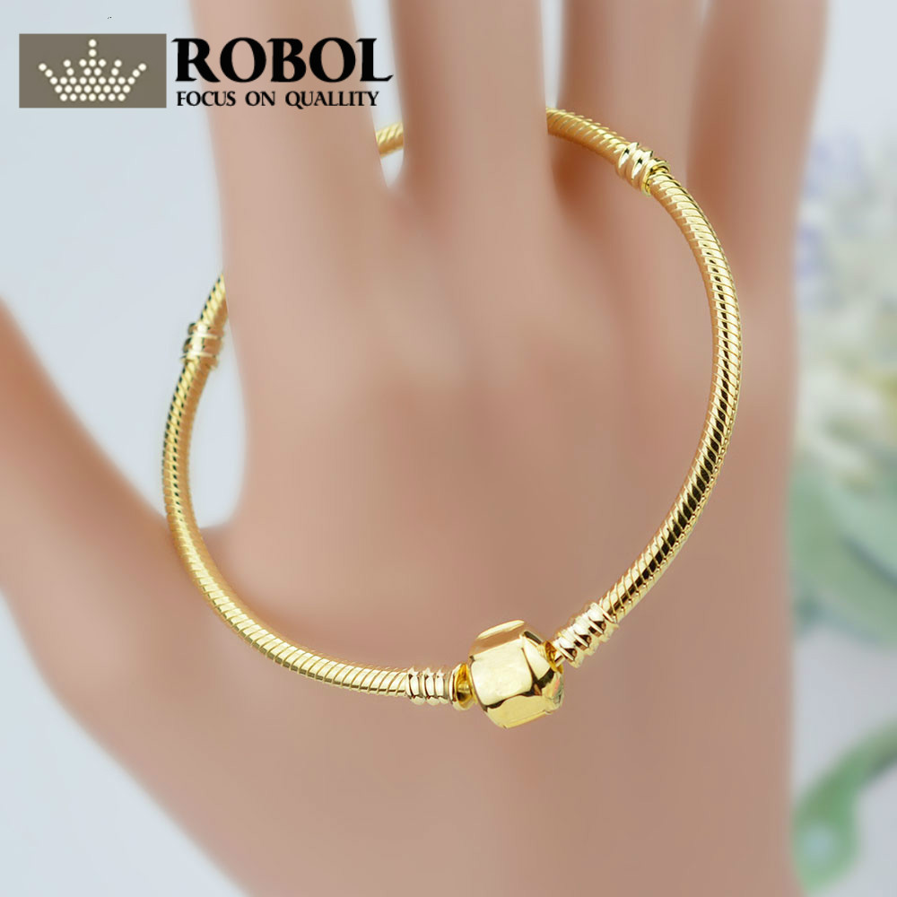 ROBOL100% 925 Sterling Silver 14k Gold Bracelet Snake Chain Lady Can Adjust The Fine Jewelry Gift Party Fashion 8037
