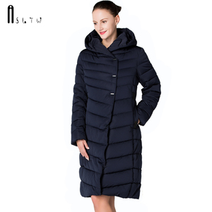 Image 2 - ASLTW femmes manteau dhiver nouveau mode décontracté femmes de haute qualité Parkas manteau Long avec ceinture à capuche marque Plus la taille 4XL vestes chaudes