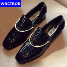 PLUS SIZE 34 43 Genuine leather font b Women b font Flat square toe Oxford Shoes