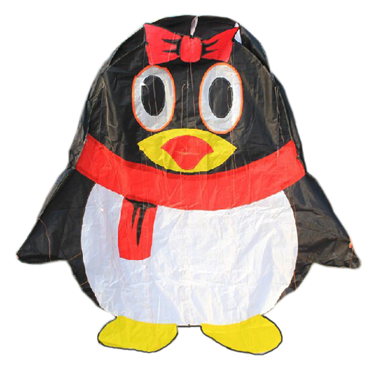 Professional Outdoor Fun Sports Power Cartoon Software QQ Penguin Kite With String Good  ...
