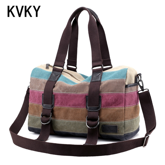 Brand Vintage Women Patchwork Canvas Casual Shoulder Big Shopping Stripe Rainbow Travel Messenger Bags bolsas Handbags