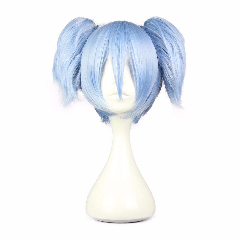 MCOSER Cos Blue Straight Synthetic Short Straight 30cm Two Ponytails Cosplay Wigs 100% High Temperature Fiber WIG-575A