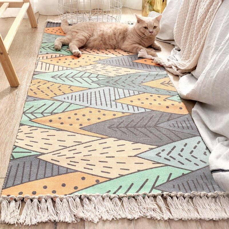 Tapis décoratif coton tapis salon contracté tapis Multi taille cuisine décoration frais