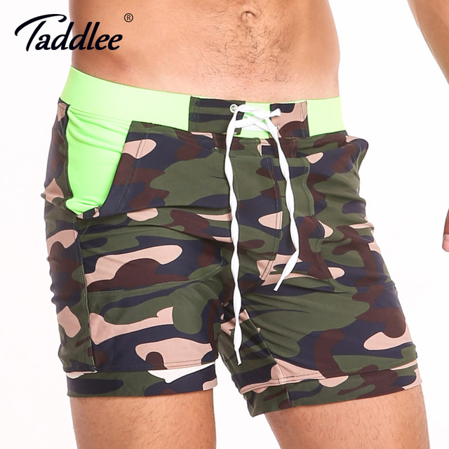513041dc2d Taddlee Brand Sexy Men's Swimwear Swimsuits Gay Plus Size Long Basic Camo  Board Shorts Boxer Trunks