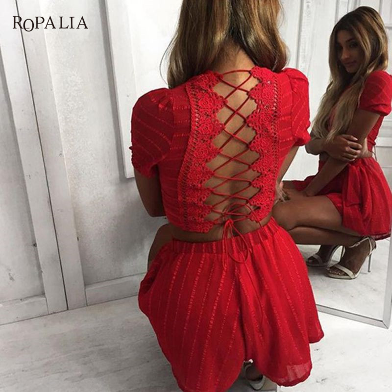 ROPALIA Club Short Pants Women Fashion Two-Piece Suits For Lady O-Neck Sexy Belly Short Sleeve Back Bandage Women Set