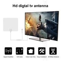 Blanc 80 Miles Date De Haute Qualité TV Numérique Antenne Intérieure HD plat Design High Gain HD TV DTV Boîte 470-860 Mhz Promotion Chaude