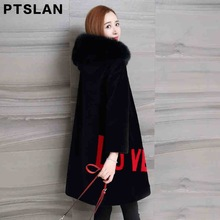Ptslan Women Sheep Fur Coat Winter Wool Coat   Fox Fur collar Warm  Wool Women's Beige Black Long Jacket  Coat