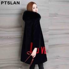 Ptslan Women Fur Coat Winter Real Lamb Fur Coat Fox Fur collar Warm Genuine Wool Women's Beige Black Long Jacket Coat