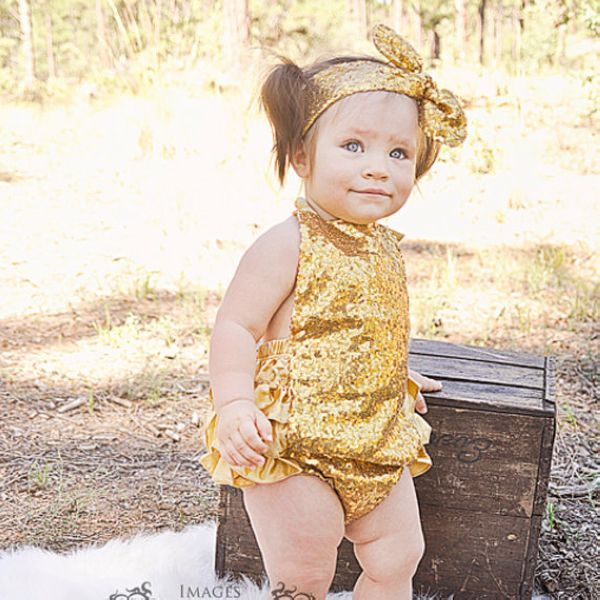 277aef9e388d Gold Sequin Metallic Bubble Ruffle Romper Birthday Outfit - Sequin Glitter  Romper with Knot Headband Set