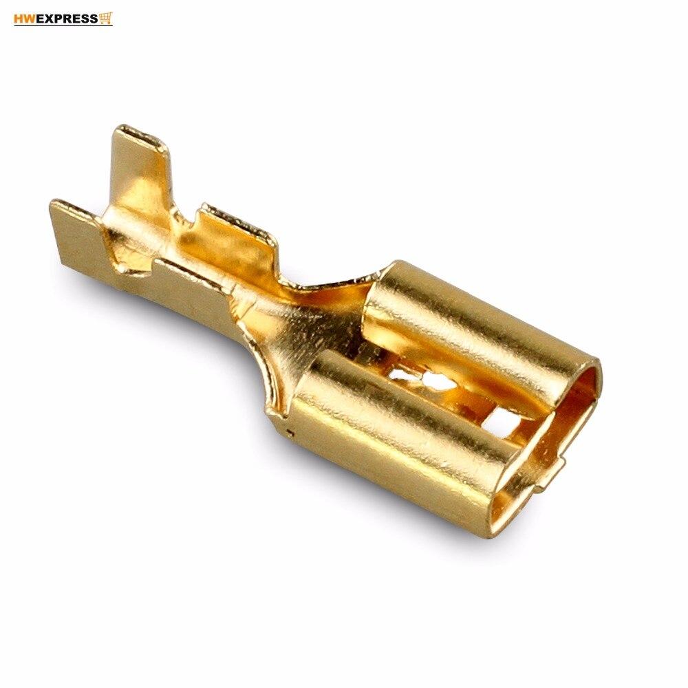 100 PCS Hot Bronze 6.3mm Conectores Terminais Spade Cabo do Sexo Feminino