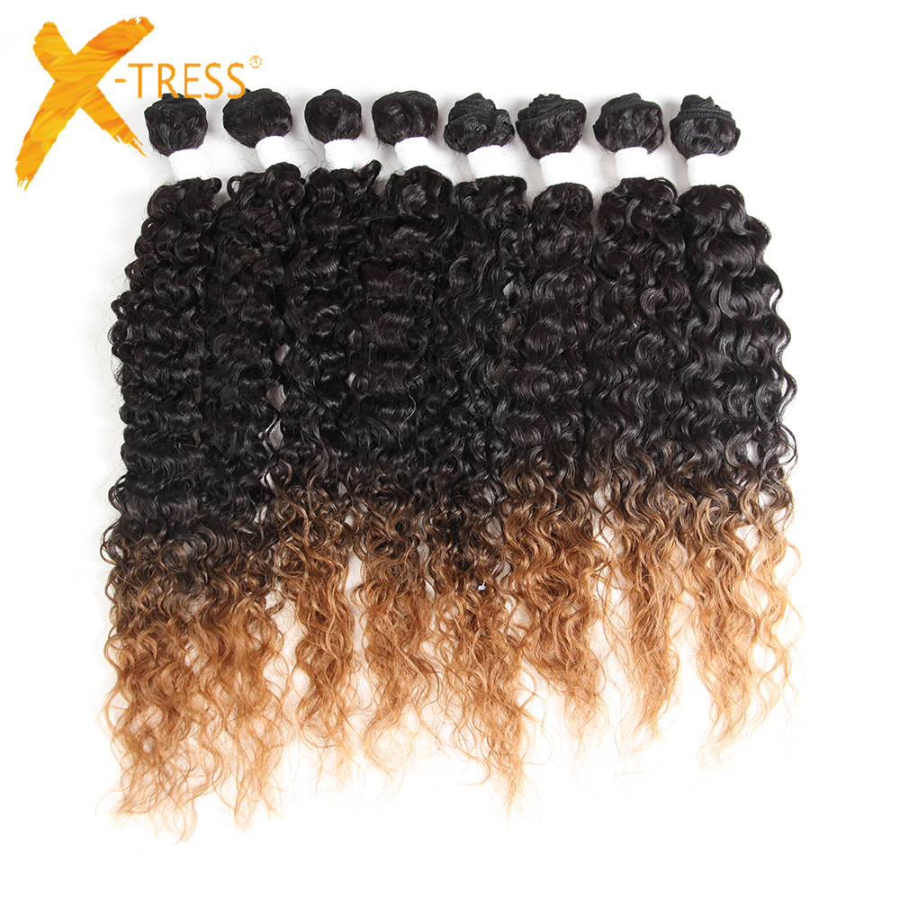 Kinky Curly Hair Weave Bundles 16 20inch 8 Pieces For Full Head X TRESS Ombre Brown Blend Synthetic Human Hair Weft Extensions