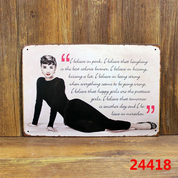 ᐂAudrey Hepburn I Believe In Pink Quotations Wall Stickers Decor Custom Believe Signs Decor