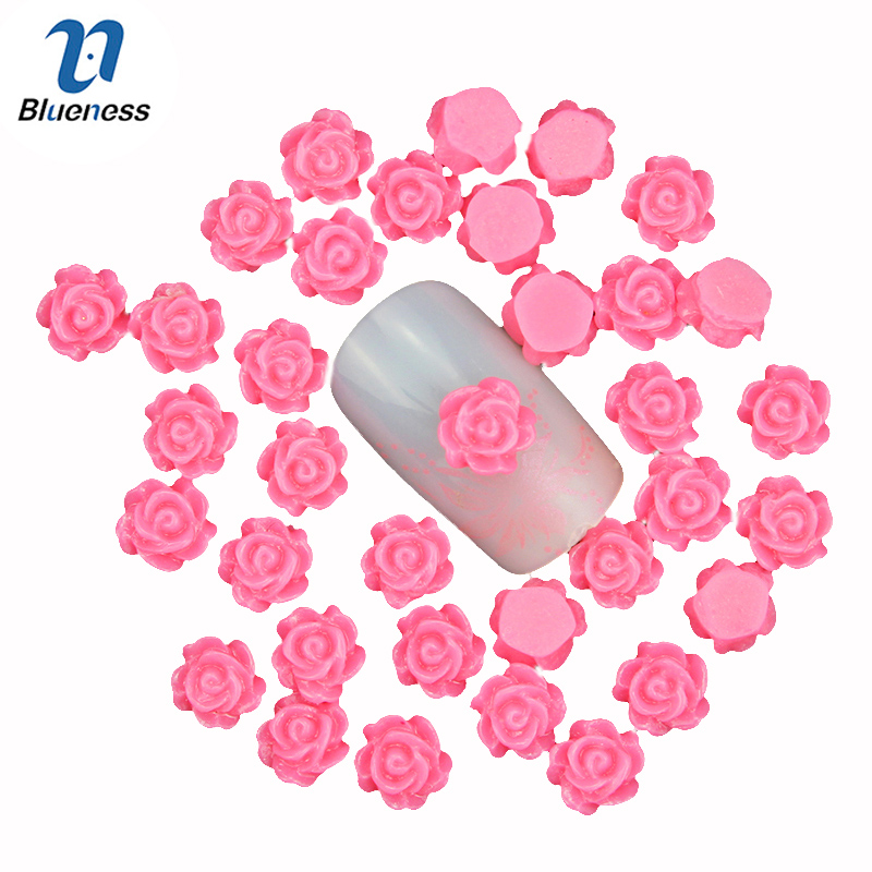 Blueness 6mm Charm Flower Nail Art Decoration  Jewelry 3D Rresin Nail Stud Tips DIY Romantic Rose Nail Sticker Accessories PJ213 golden black nail art crown hollow flakes 3d decoration sticker wheel alloy uv gel polish tips diy charm jewelry accessories