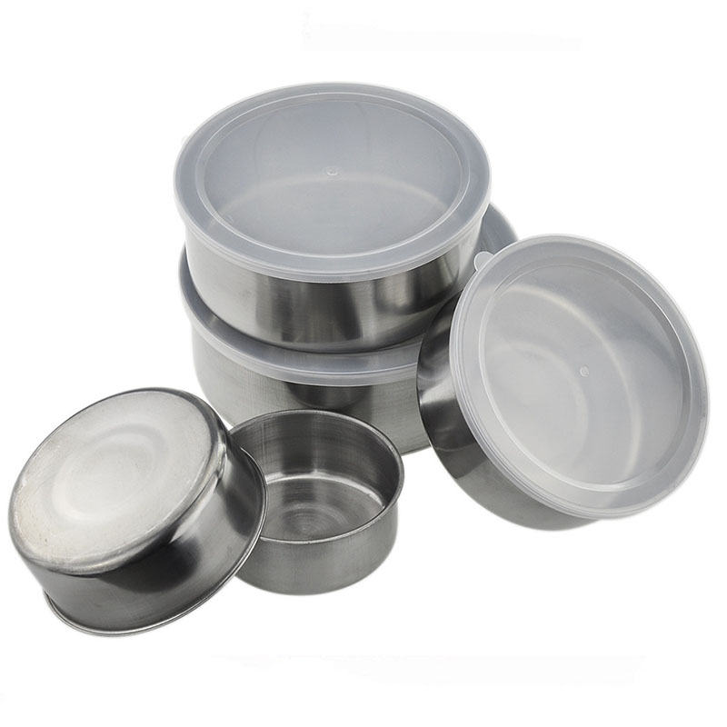 Round Shape Preservation Bowls Tools Stainless Steel Kitchen Dinnerware Food Container Lunch Box silver size5 4
