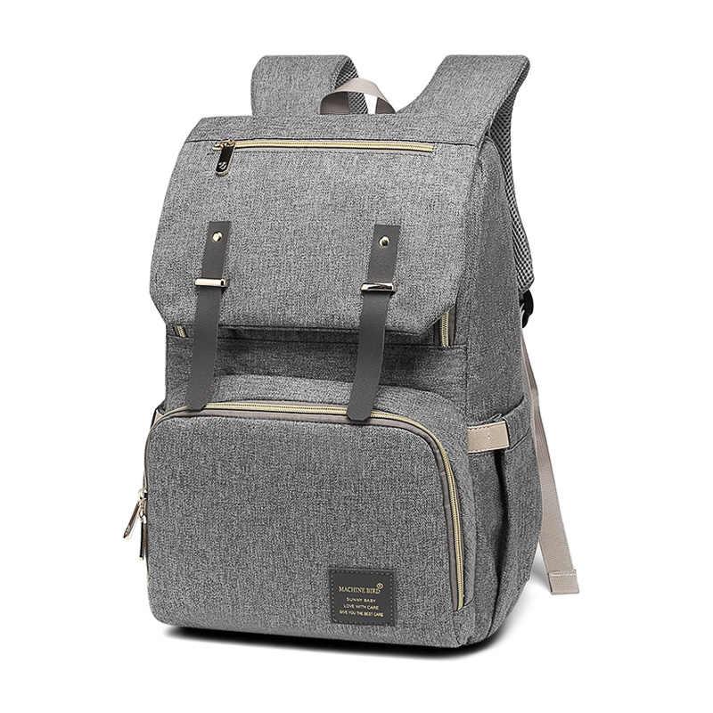 Bolsa de pañales de gran capacidad, bolsa de pañales USB para bebé, mochila de mamá y papá, bolsa de ordenador portátil informal impermeable, bolsa de carga USB para botella de leche