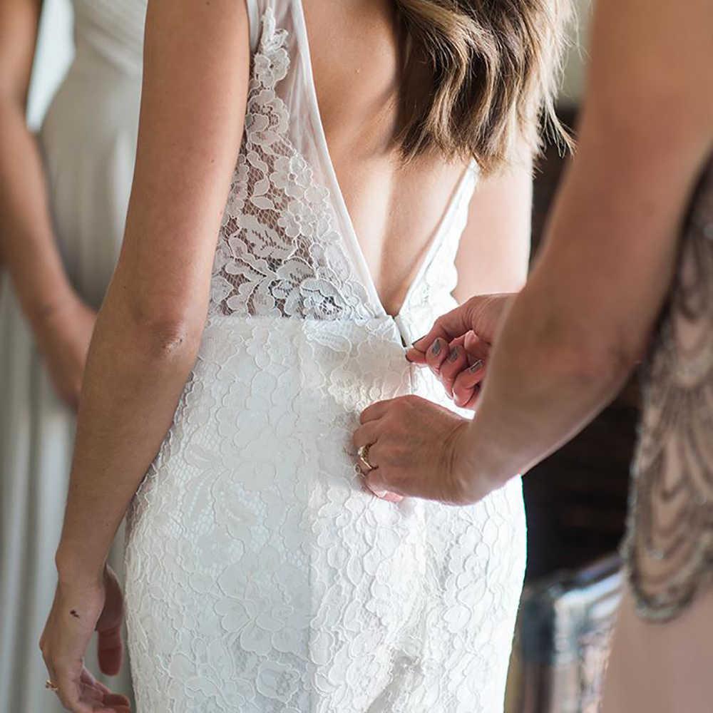 Vestido de Noiva de renda Com Decote Em V vestido de Noiva Simples Vestido de Casamento Da Praia Barato Dressses Para As Mulheres 2018 Sem Encosto Romântico Transporte Rápido
