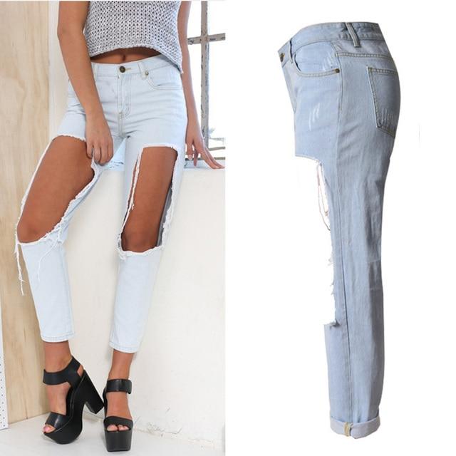 a3fa45d5d9e Light Blue Cut Out Big Holes Sexy Women Boyfriend Jeans Plus Size Fashion  Distressed Ripped Jeans Femme Denim Pants 2017 ZIH043