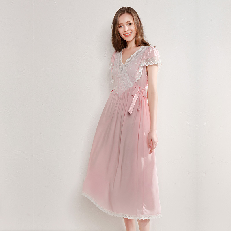 2019 Summer White Cotton Viscose Female Long Nightgowns Short Sleeve Vintage Princess Sweet Sleepwear Lady Night Dress 180818