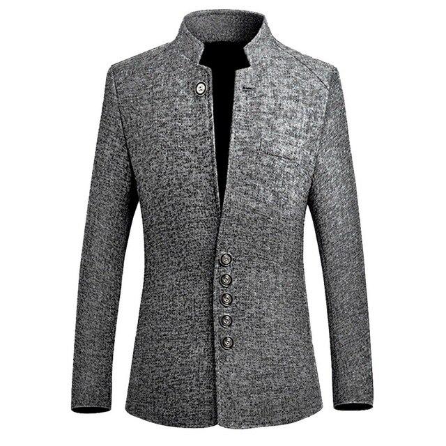 Laamei בלייזר גברים 2019 אביב חדש סיני סגנון עסקי מזדמן צווארון עומד זכר בלייזר Slim Fit Mens בלייזר מעיל גודל M-5XL